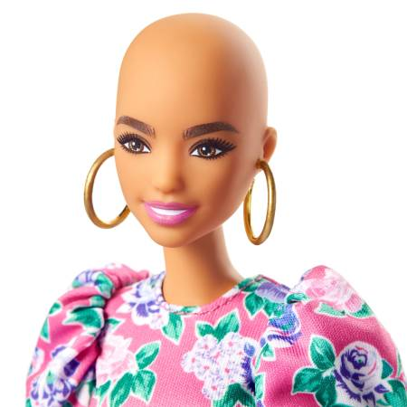 Barbie Fashionistas Doll 150 with No-Hair Look Wearing Pink Floral Dress, White Booties & Earrings