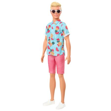 Barbie Ken Fashionistas Doll 152 with Sculpted Blonde Hair Wearing Blue Tropical-Print Shirt, Coral Shorts, White Shoes & White Sunglasses