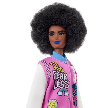 Barbie Fashionistas  with Brunette Afro & Blue Lips Wearing Graphic Coat Dress & Yellow Shoes