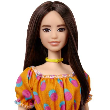 Barbie Fashionistas Doll 160 with Long Brunette Hair Wearing Patterned Orange Dress, White Shoes & Yellow Choker