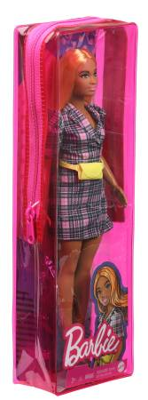 Fashionistas Barbie 161, Curvy with Orange Hair Wearing Pink Plaid Dress, Black Boots & Yellow Fanny Pack