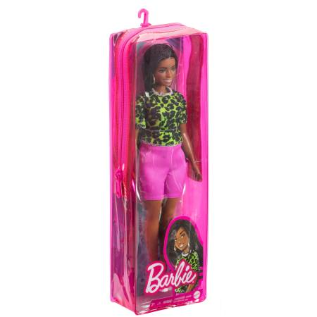 Barbie Fashionistas Doll 144 with Long Brunette Braids Wearing Neon Green Animal-Print Top, Pink Shorts, White Sandals & Earrings